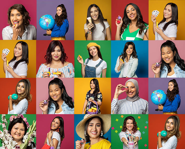 A collage of women posing with colorful backgrounds
